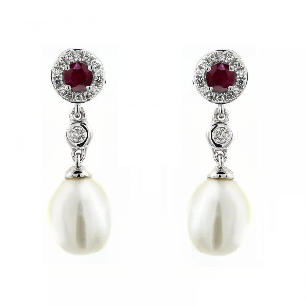 18ct White Gold 0 28ct Ruby Diamond Pearl Drop Earrings