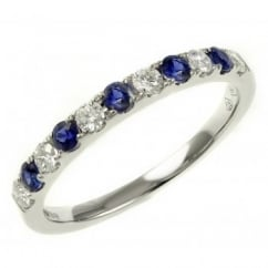 18ct white gold 0.28ct sapphire & 0.25ct diamond eternity ring.