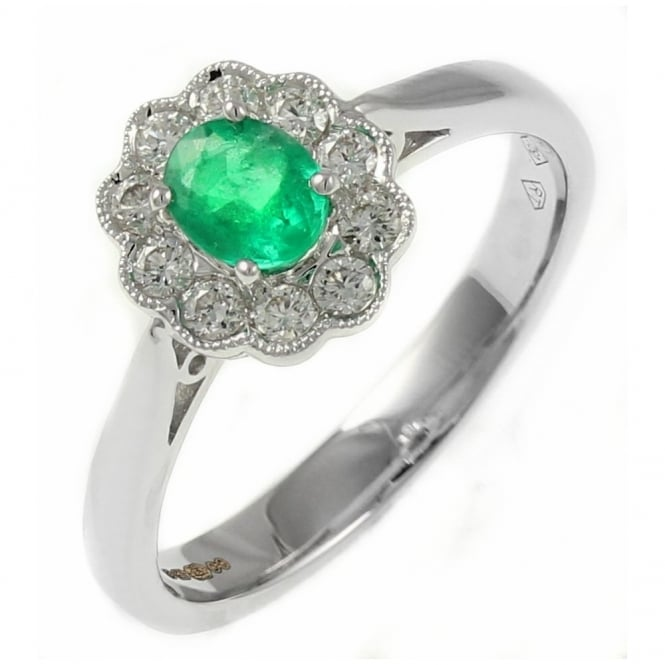 18ct white gold 0.29ct emerald & 0.22ct diamond cluster ring.