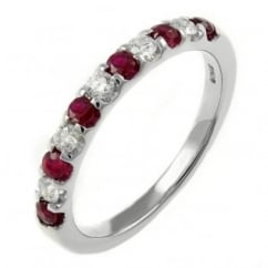 18ct white gold 0.29ct ruby & 0.21 diamond half eternity ring.