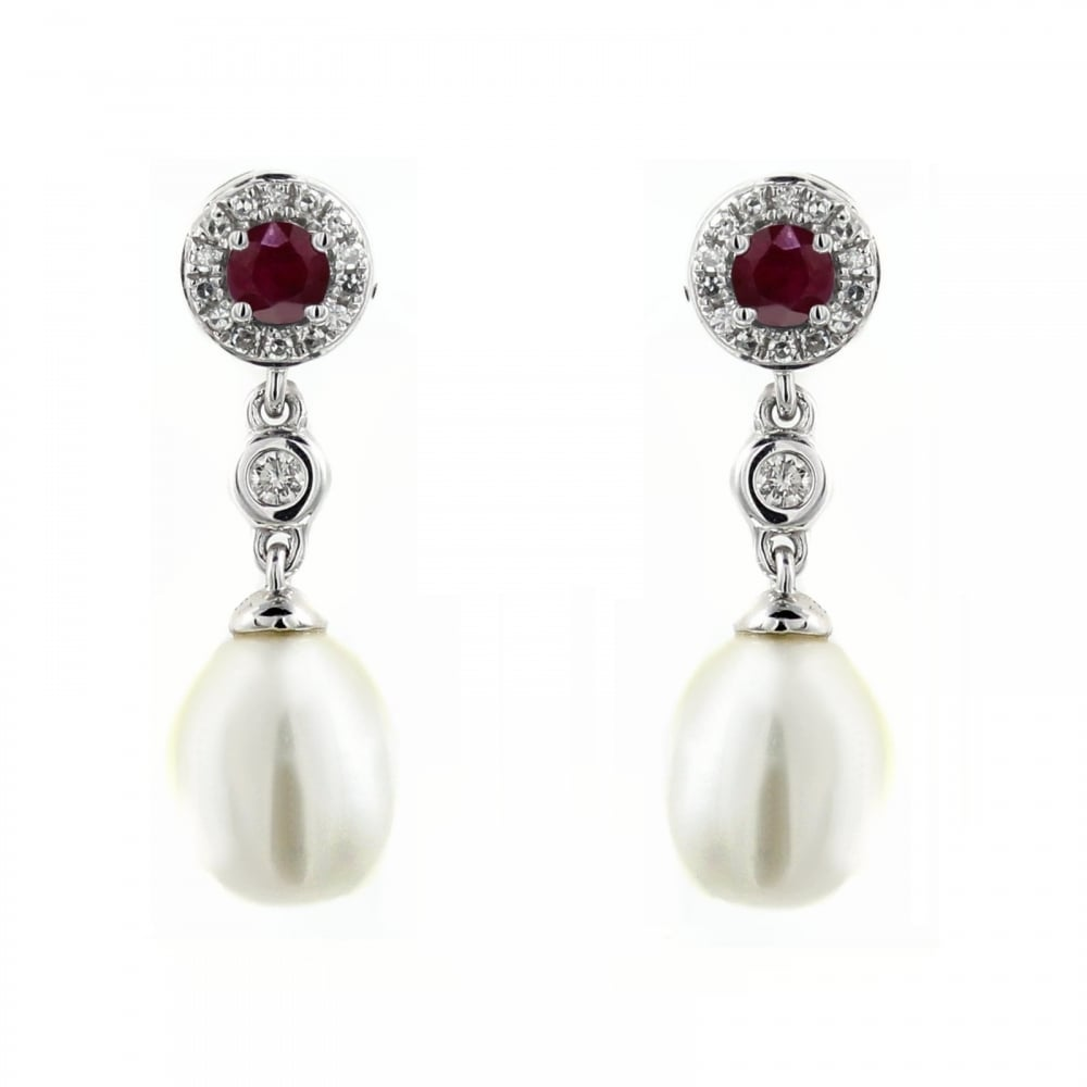 18ct White Gold 0 29ct Ruby Diamond Pearl Drop Earrings