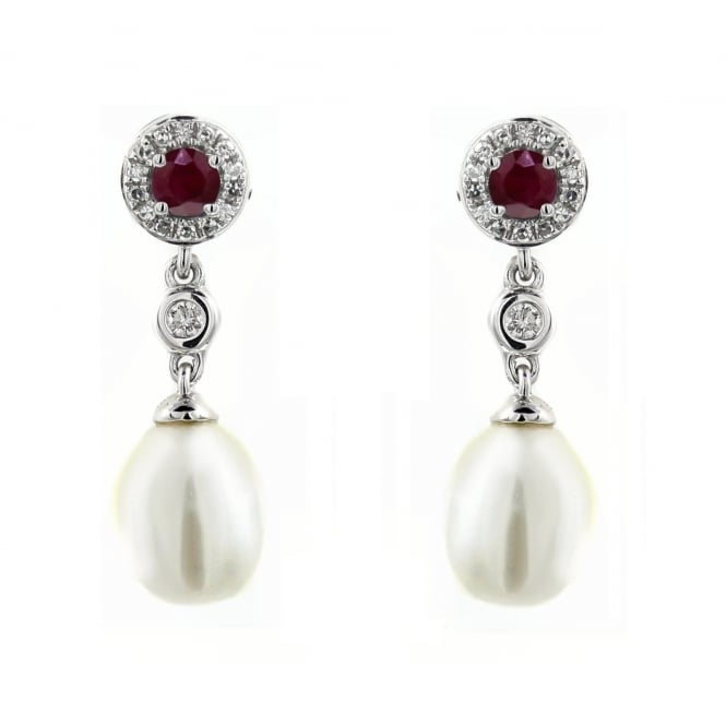 18ct white gold 0.29ct ruby, diamond & pearl drop earrings