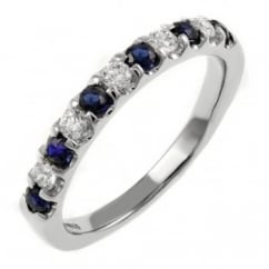 18ct white gold 0.29ct sapphire & 0.21ct diamond eternity ring.