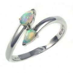18ct white gold 0.30ct pear natural opal twist ring.