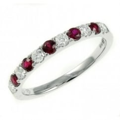18ct white gold 0.30ct ruby & 0.25ct diamond eternity ring.