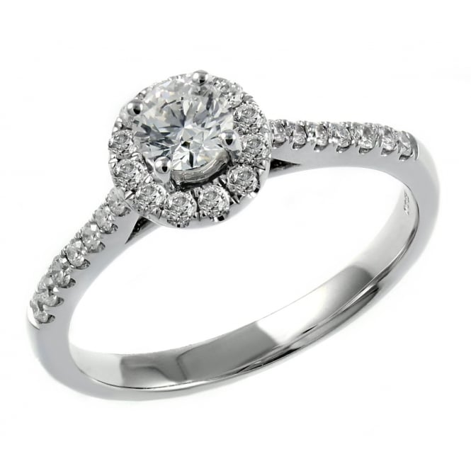 18ct white gold 0.34ct E VS2 GIA round brilliant diam halo ring.