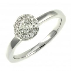 18ct white gold 0.34ct round brilliant cut art deco style ring.
