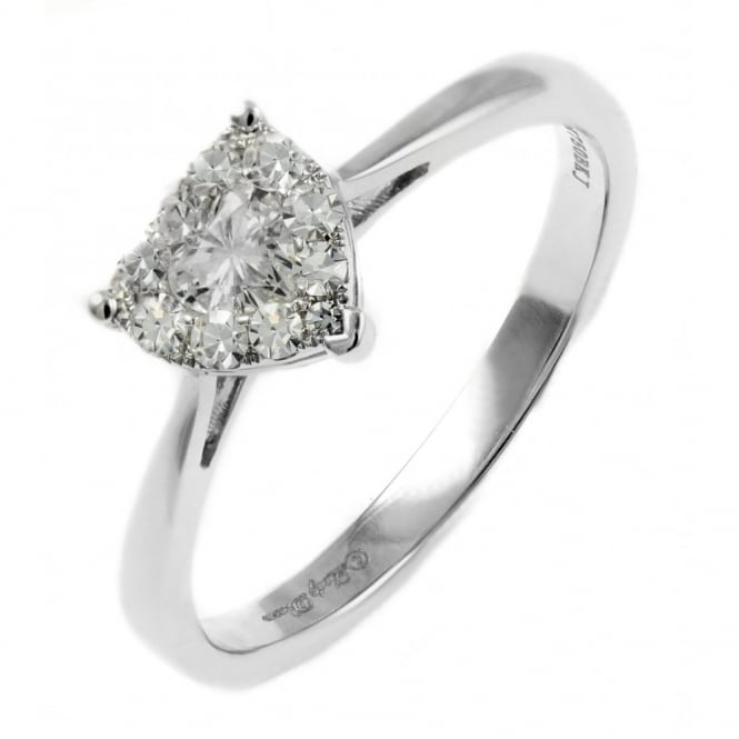 18ct white gold 0.35ct invisible set heart shape diamond ring.