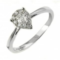 18ct white gold 0.35ct invisible set pear shape diamond ring.
