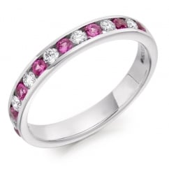 18ct white gold 0.35ct pink sapphire & 0.27ct diam eternity ring