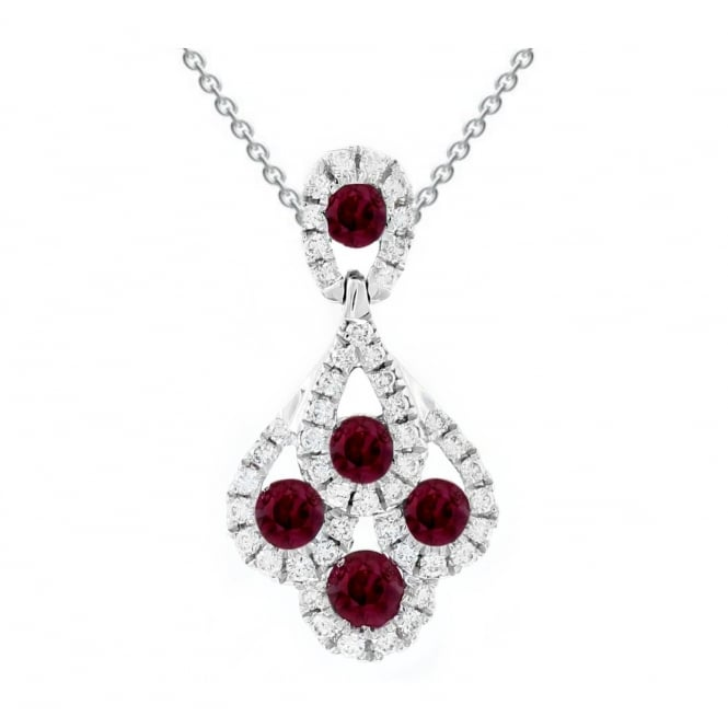 18ct white gold 0.36ct ruby & 0.15ct diamond peacock pendant.