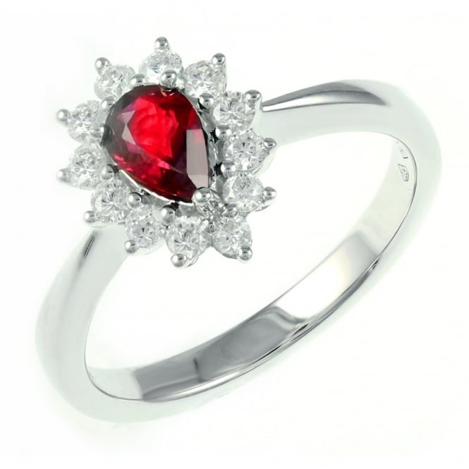 18ct white gold 0.36ct ruby & 0.28ct diamond cluster ring.