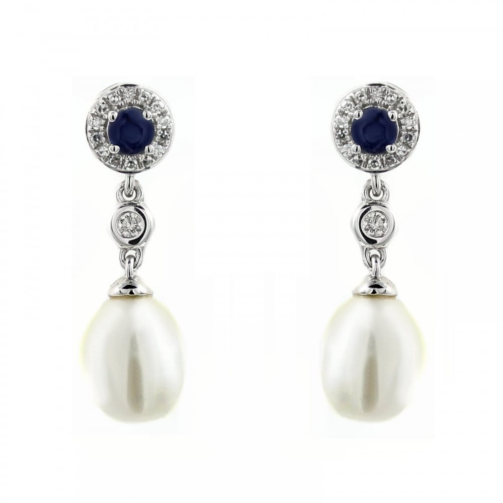 18ct White Gold 0 36ct Shire Diamond Pearl Drop Earrings