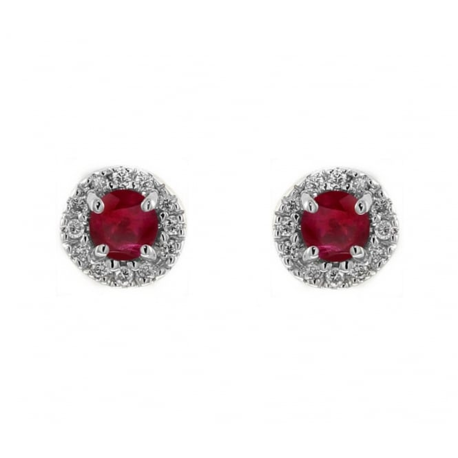 18ct white gold 0.38ct ruby & 0.13ct diamond stud earrings
