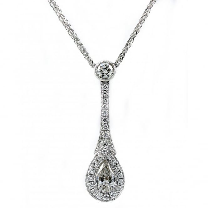 18ct white gold 0.39ct pear diamond art deco style necklace.