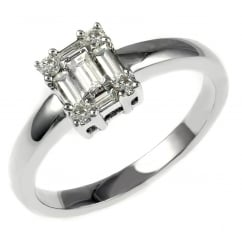18ct white gold 0.39ct round & baguette diamond cluster ring.
