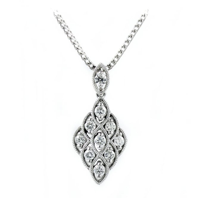 18ct white gold 0.40ct diamond drop pendant.