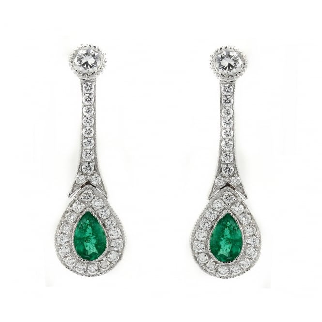 18ct white gold 0.40ct emerald 0.39ct diamond Art Deco earrings