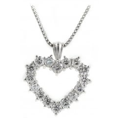 18ct white gold 0.40ct open heart shaped diamond pendant