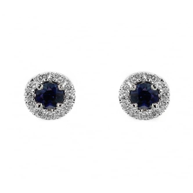 18ct white gold 0.40ct sapphire & 0.12ct diamond stud earrings.