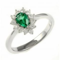 18ct white gold 0.41ct emerald & 0.29ct diamond cluster ring.