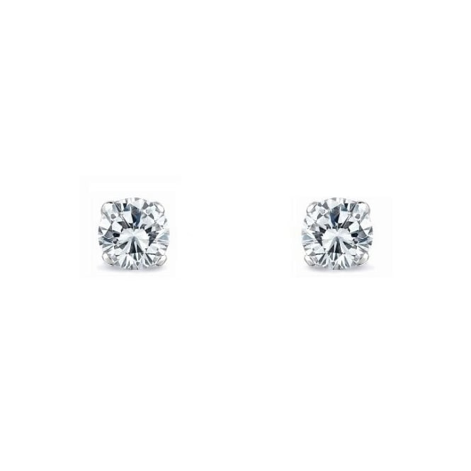 18ct white gold 0.43ct D VS2 round diamond stud earrings