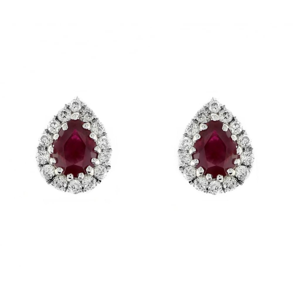 18ct White Gold 0 43ct Ruby 12ct Diamond Stud Earrings