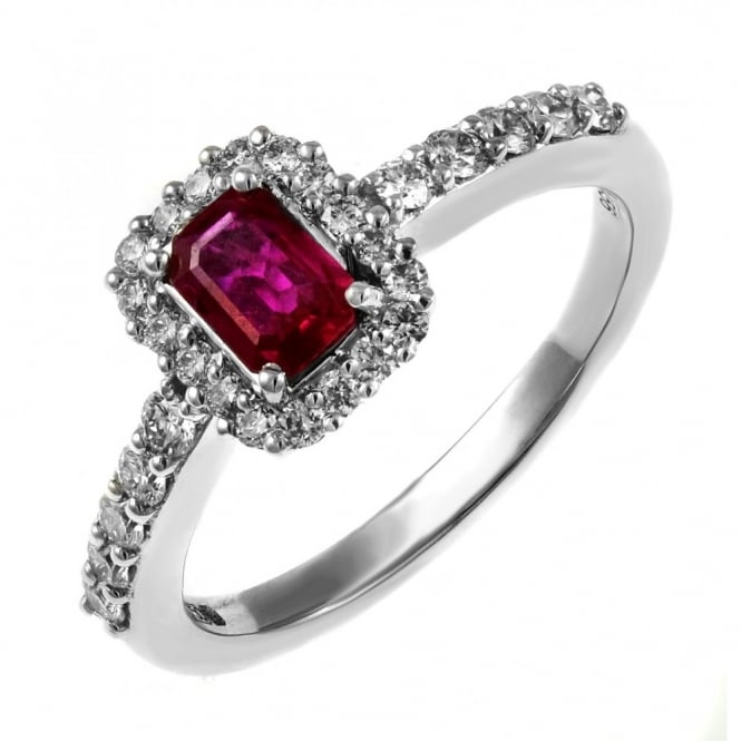 18ct white gold 0.44ct emerald cut ruby & 0.45ct diamond ring.