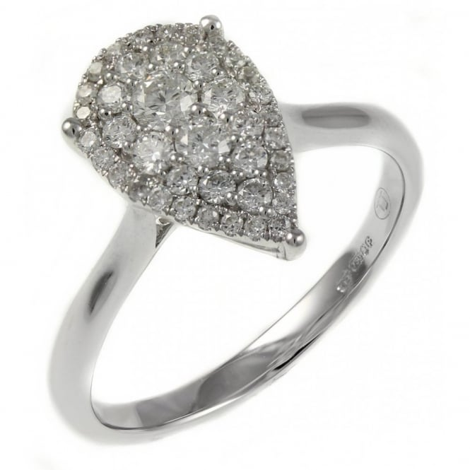 18ct white gold 0.44ct invisible set pear shape diamond ring.
