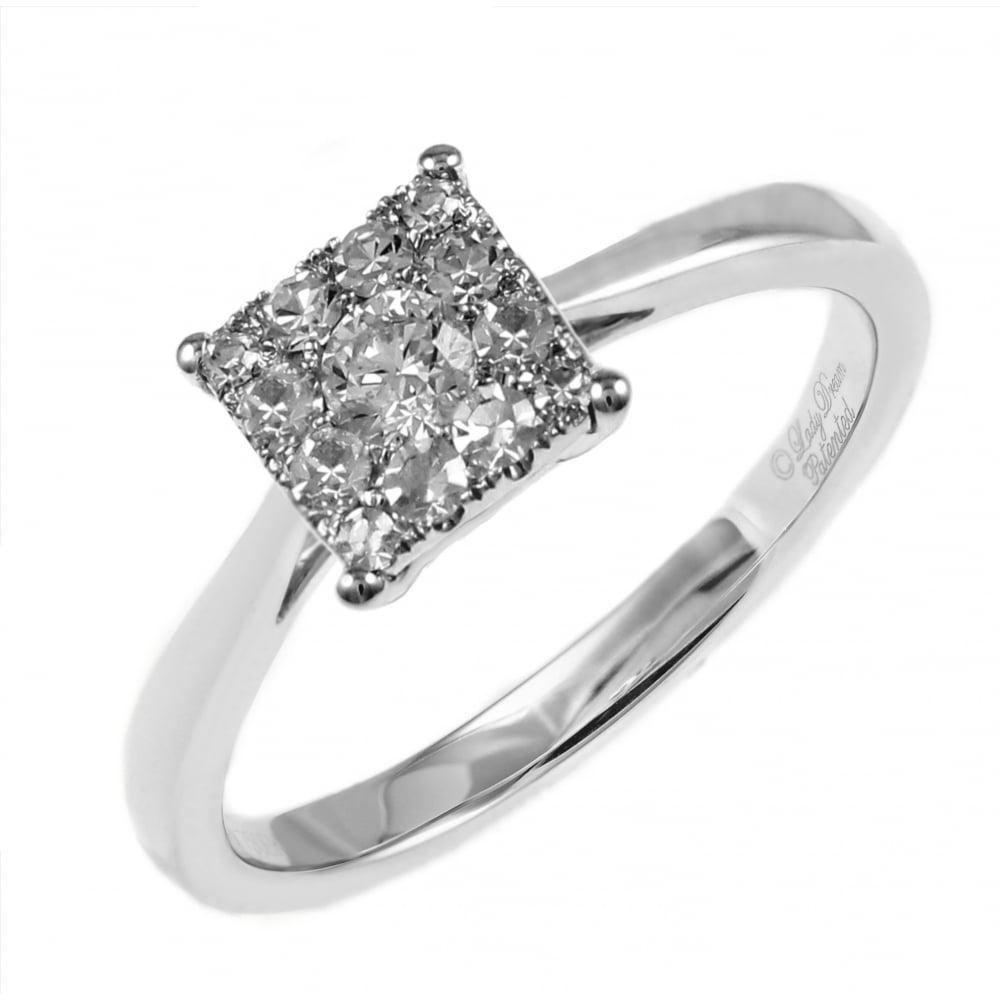 18ct White Gold 045ct Invisible Set Princess Cut Diamond Ring