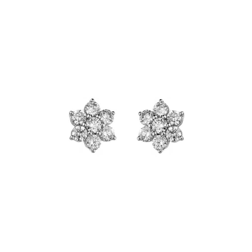 b7441c940 18ct white gold 0.46ct diamond flower cluster earrings - Jewellery from Mr  Harold and Son UK