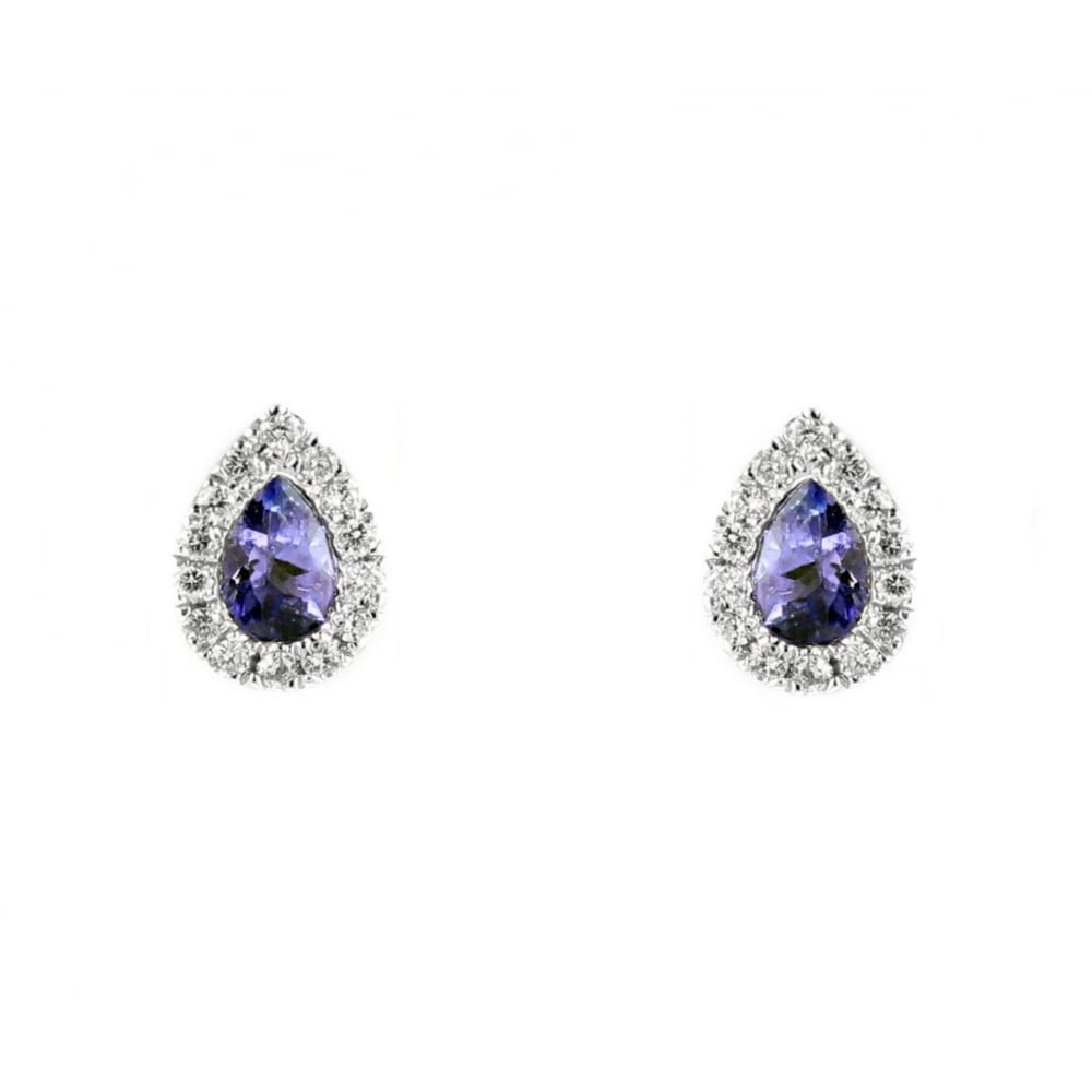 18ct White Gold 0 46ct Tanzanite 11ct Diamond Stud Earrings
