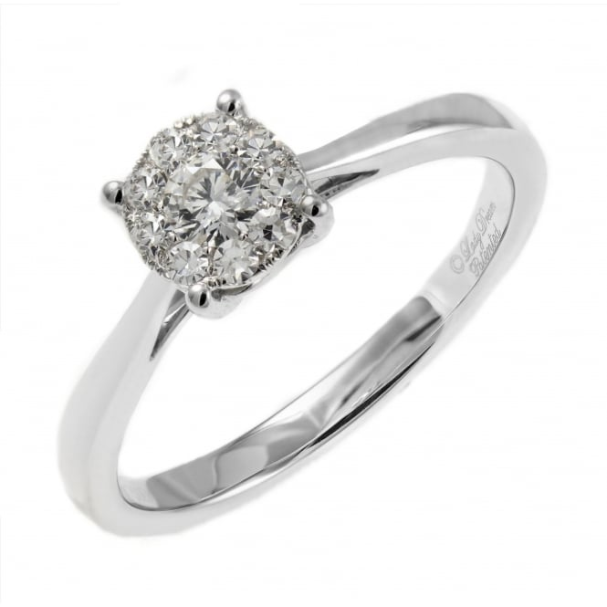 18ct white gold 0.47ct invisible set circular diamond ring.