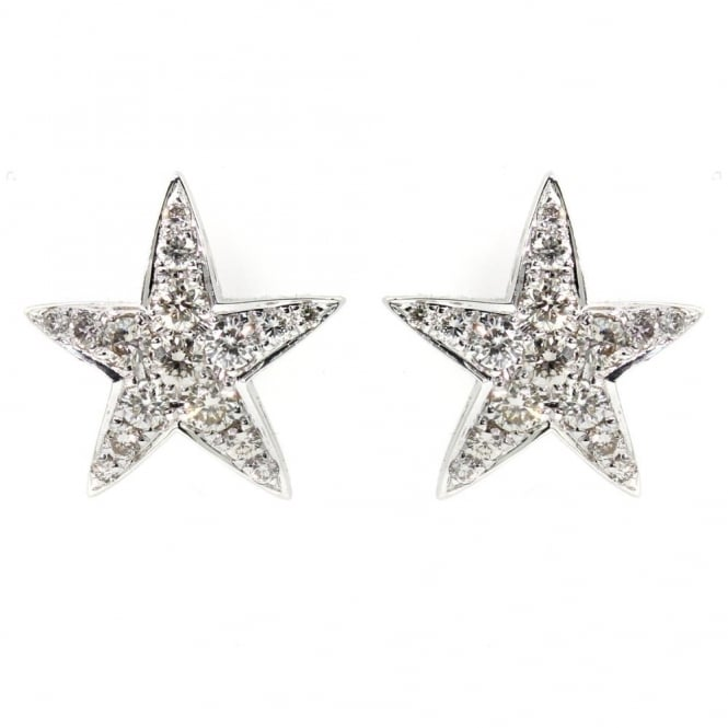18ct white gold 0.47ct starfish diamond stud earrings.