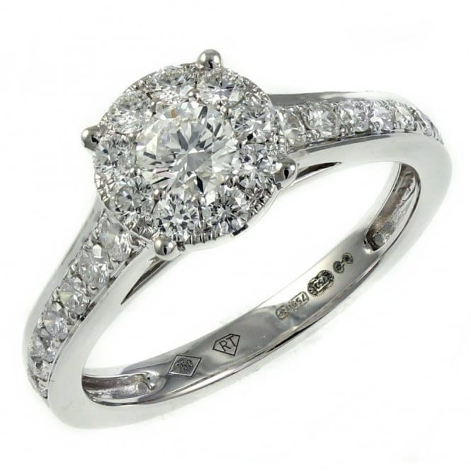 18ct white gold 0.48ct invisible set diamond cluster ring.
