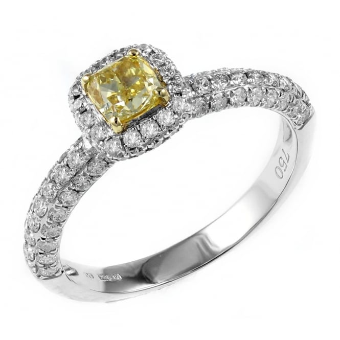 18ct white gold 0.48ct yellow cushion diamond solitaire ring.