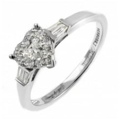 18ct white gold 0.50ct invisible set heart shape diamond ring.