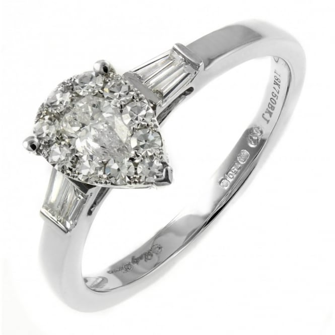 18ct white gold 0.50ct invisible set pear shape diamond ring.