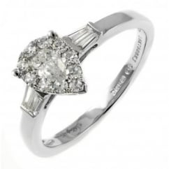18ct white gold 0.50ct invisible set pear shape diamond ring