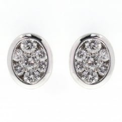 18ct white gold 0.50ct oval rubover diamond stud earrings.
