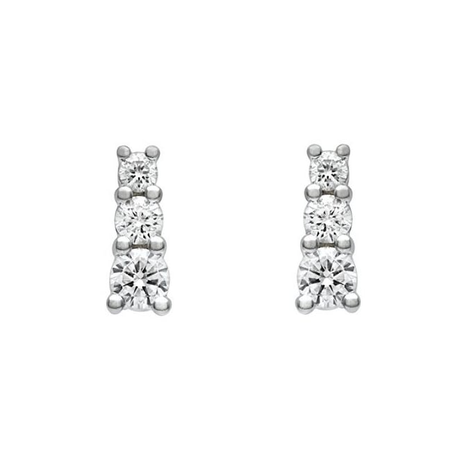 18ct white gold 0.50ct round brilliant diamond trilogy earrings