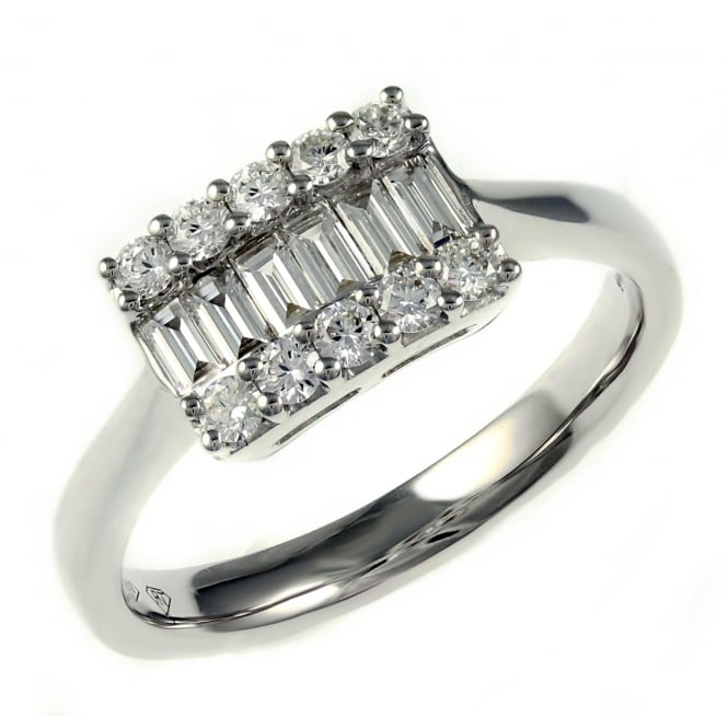 18ct white gold 0.52ct baguette & round brilliant diamond ring.