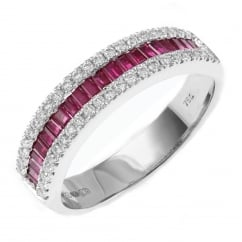 18ct white gold 0.53ct ruby & 0.27ct diamond eternity ring.