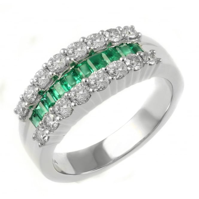 18ct white gold 0.54ct emerald & 0.85ct diamond eternity ring.