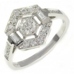18ct white gold 0.55ct hexagonal art deco style diamond ring.