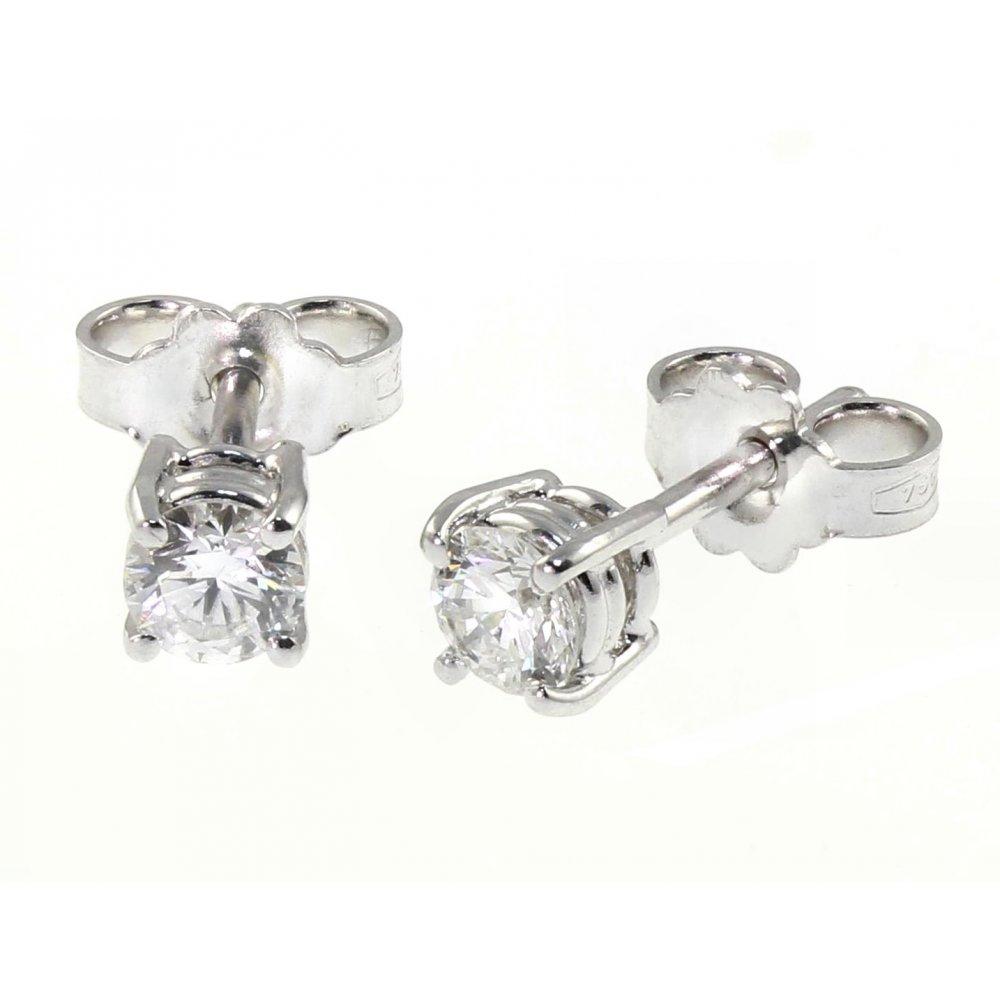 18ct White Gold 0 55ct Round Brilliant Diamond Stud Earrings