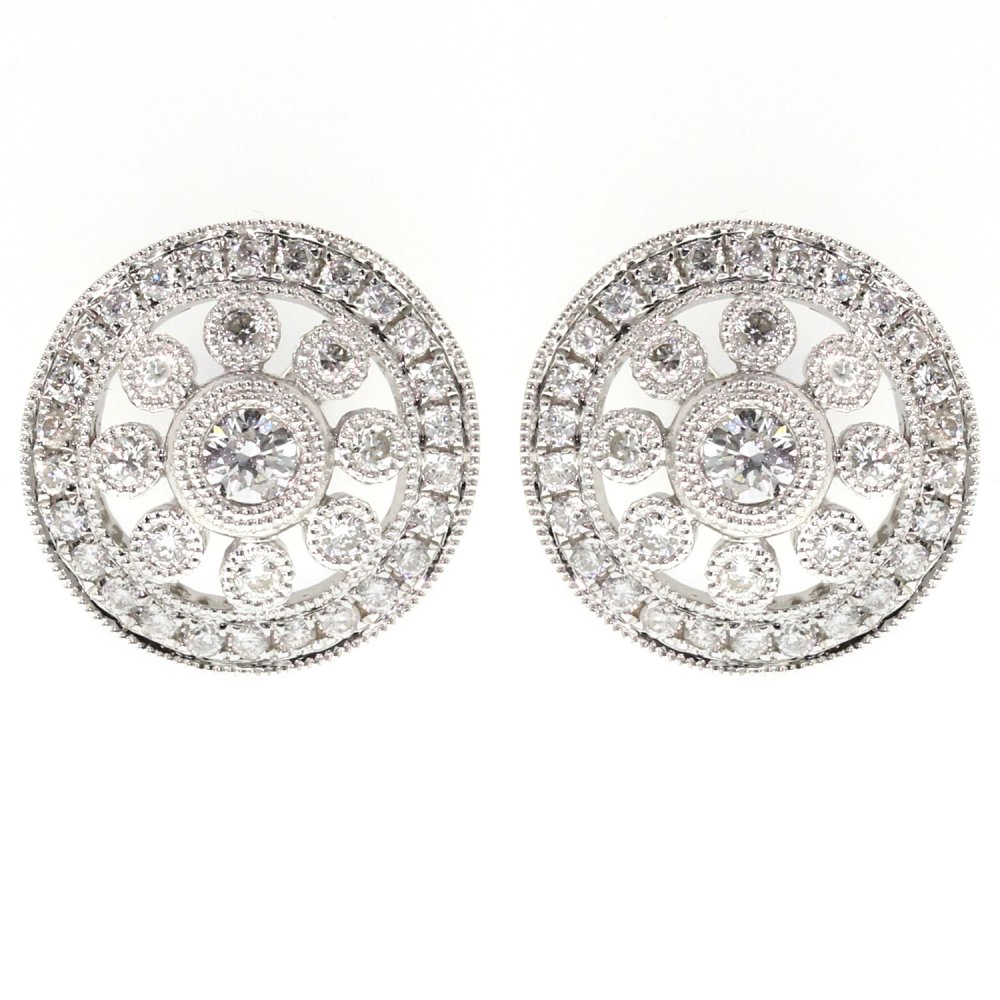 18ct White Gold 056ct Art Deco Style Stud Earrings