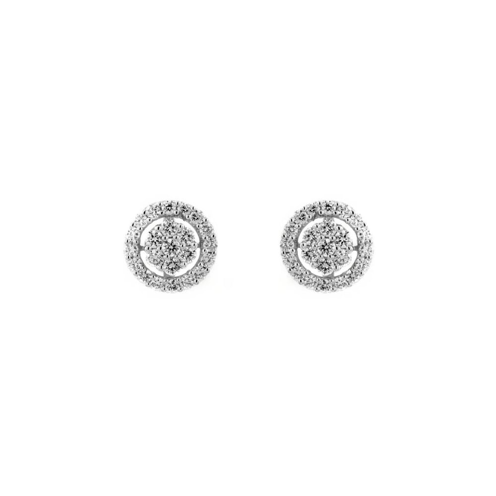invisible diamond white image set drop gold earrings jewellery