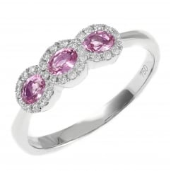 18ct white gold 0.56ct pink sapphire 0.16ct diamond cluster ring