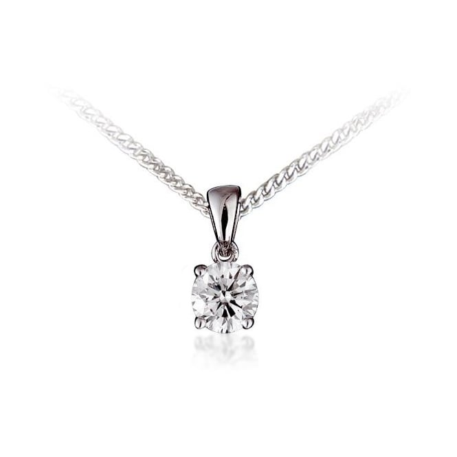 18ct white gold 0.56ct round brilliant cut diamond pendant.